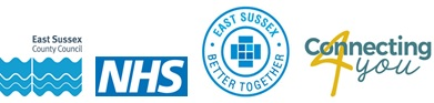 Logos for East Sussex County Council, the NHS, East Sussex Better Together, Connecting 4 You